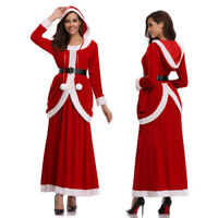 Women Christmas Xmas Deluxe Classic Mrs. Santa Claus Cosplay Costume Party Dress
