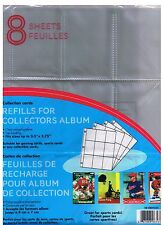 9-POCKET PAGE TRADING CARD SLEEVES PACK OF 8- HOLDS 72 - HOCKEY - BASEBALL ETC.