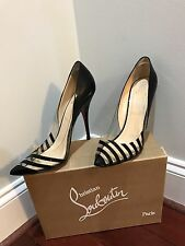 100% Authentic Christian Louboutin Pivichic 100 Black Patent/PVC; Size 39.5