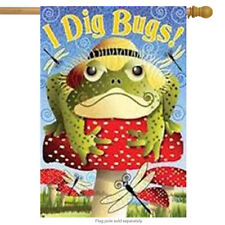 "I Dig Bugs Toad  House Flag Mushroom Top Hat 28"" x 40"""