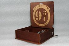 Platform 9 34 King's Cross - Harry Potter Music Box - Hand Crank Engraved Wooden