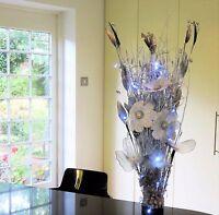 Wedding Xmas display Black Silver Flowers in wood vase 20 battery LED lights