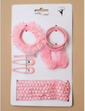 Childrens Girls Kids Pink Ballerina Hair Clips Ponios Elastics Headband Set