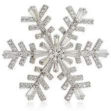 CRYSTAL WHITE GOLD PLATED FLOATER SNOWFLAKE BROOCH MADE WITH SWAROVSKI ELEMENTS