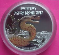 2010 TUVALU BROWN SNAKE  SILVER PROOF AUSTRALIAN VERSION COIN RARE COIN