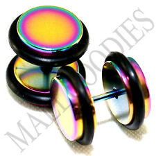 """2119 Fake Cheater Illusion Faux Plugs 16G Steel 7/16"""" 11mm Multi-Color XLarge XL"""