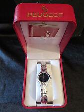 Ladies Peugeot 4 Diamond Quartz Wristwatch  Chain Band Blk Dial Needs Battery
