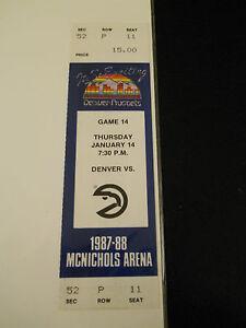 1988 Denver Nuggets vs. Atlanta Hawks Full Unused Ticket Stub (SKU1)