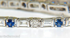 4.43CT NATURAL FINE SAPPHIRE DIAMONDS BRACELET BAGUETTE & ROUNDS 14KT