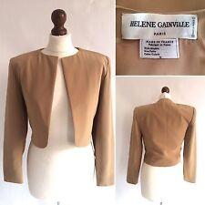 Helene Gainville Beige cropped bolero veste style parisien designer couture 8