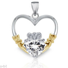Clear White Sapphire CZ Heart 14k Yellow Gold Plated Claddagh Silver Pendant