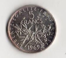 RARE MONNAIE DE 5 FRANCS SEMEUSE ARGENT DE 1969 @ BELLE QUALITE @ SILVER COINS !