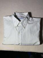 Brooks Brothers Button Down Long Sleeve Dress Shirt Light Green stripes 17.5 32/