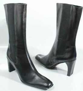 Anne Klein Chelsy Black Nappa Leather Sq Stiletto & Toe Made in Italy Size 7.5 M