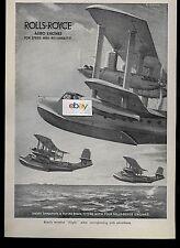 SHORT BROS LTD SHORT 1935 SINGAPORE FLYING BOATS ROLLS ROYCE AERO ENGINES AD