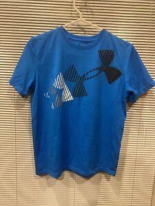 UNDER ARMOUR Blue Heat Gear T Shirt Logo YLG
