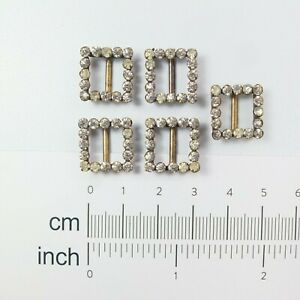 5 x Tiny Antique Paste Buckles Matching Set Paste Necklace Ribbon Slides/Buckles