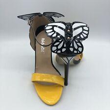 Rainbow Cat Butterfly Black & Yellow High Heels W/ Buckle Size 38/7