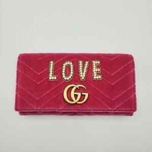 Gucci Pink Velvet Flap Continental Wallet w/Pearl LOVE and Gold GG 443436 5571