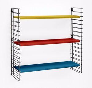 Tomado Scandi Retro Bookcase Display Shelving Furniture Black Blue Yellow Red