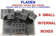 FLADEN SPECIALIST TACKLE BOX SYSTEM & 6 BIT BOXES FOR HOOKS SWIVELS SPOONS LURES