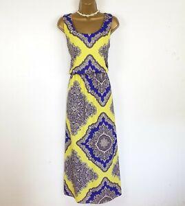 Boohoo Summer Maxi Dress UK 16 14 Yellow Purple Paisley