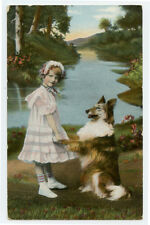 c 1908 Vintage GIRL with COLLIE DOG antique photogravure photo postcard