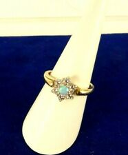 Superb Sparkling 9ct Gold OPAL & CZ Cluster Ring October Gift Sz P Hm 41v