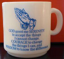 "Vintage White Milk Glass Mug God Serenity Prayer With Praying Hands Aa 3 1/2"""