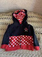 Disney Parks Minnie Mouse Hoodie Polka Dot Bow Black Sweatshirt Infant 12 months