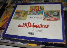 BOITE 3 PUZZLES BOIS JOUET VERA  WALT DISNEY LES 101 DALMATIENS 1961..20/24 cm