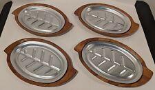 Set of 4 Sizzling Steak Fajita Stainless Steel Platter Tsubaki Braid Wood Plates