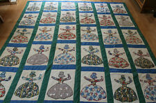 unusual vintage hand sewn stitched flour/feed sack quilt woman or doll in dress