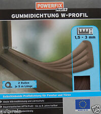 POWERFIX Profi+ Gummidichtung Fensterdichtung Türdichtung W Profil braun NEU