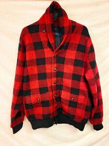 Men's Polo Ralph Lauren Plaid Cardigan Jacket Red Black Medium