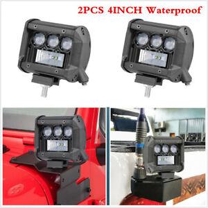 "2x 4"" 80W LED Work Light Flood Spot Combo Off-road Driving Fog Lamp Truck Boat"