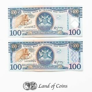 TRINIDAD & TOBAGO: 2 x 100 Trinidad & Tobago Dollar Banknotes with Consecutive S