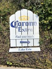 Corona Extra Find Your Beach Lake Erie Chair Beer Bar Pub Wood Sign Mirror