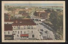 Postcard MONCTON NB/CANADA Main Street Area Stores Bird's Eye Aerial view 1930's