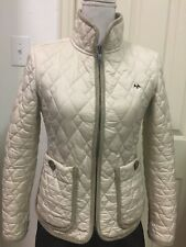 Excellent Preowned Thomas Burberry Quilted Jacket Cream Fully Lined Women