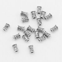 Antiqued Silver Style Metal Tube Beads Finding For Jewelry Crafting 20 Pieces