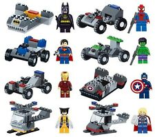 Marvel DC Lot of 16 Set Building Toy Action Mini Figure Super Hero with Vehicle