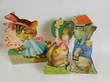 3 Antique Dog & Cat Valentines w/Moving Tails or Eyes, Germany $ Usa Made