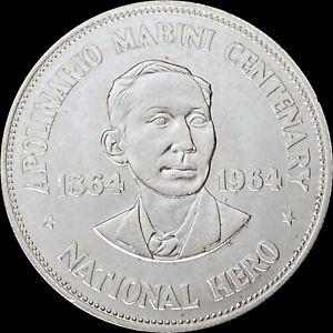 1964 Philippines Peso (Silver) - Mabini (CH UNC)