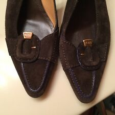 TOD's Womens High Heels SlingBacks 8 Brown Suede Leather Purple Leather Trim