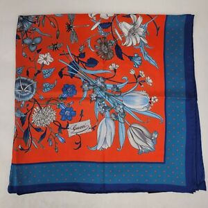 Gucci Blue/Red Silk Floral Insect Print and Star Border Square Scarf 576959 6569