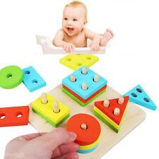 Educational Baby Kids Puzzle Wooden Toy Geometric Sorting Board Building Blocks