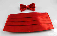 MENS SET - RED CUMMERBUND + BOW TIE TUXEDO FORMAL WEDDING MEN'S SUIT CUMBERBUN