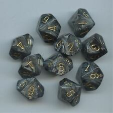 Chessex Dice Sets Lustrous Black W/Gold Ten Sided Die d10 Set (10) CHX 27298