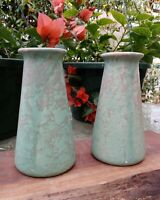 REDUCED! Vintage Brush Pottery Matte Green Vellum Arts & Crafts Bud Vases EXC